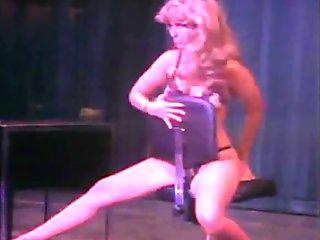 Secretary stripping on stage