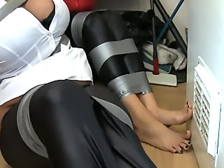 Two girls captured and tape gagged