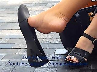 Crocs flat dangle - candid mature feet
