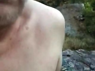 Outdoor masturbating full naked on hiking trail with cum